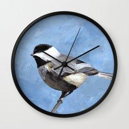 Chickadee Art, Blue Painting Wall Clock