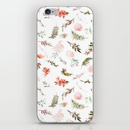 Coral pink green watercolor hand painted floral iPhone Skin