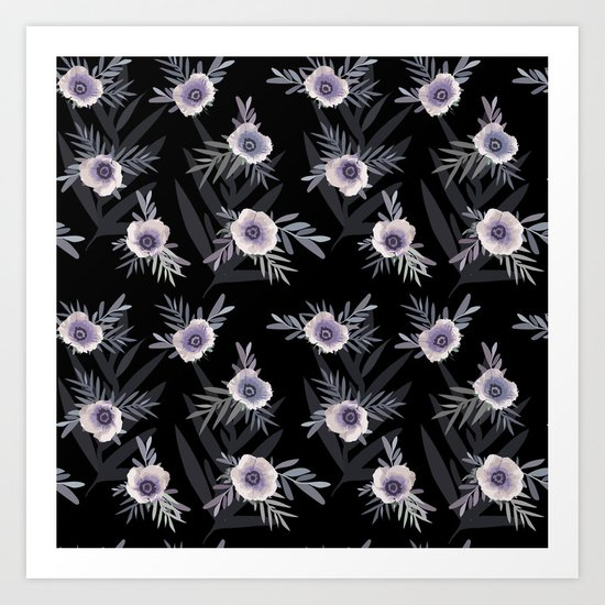 Floral pattern with anemone flowers, romantic print black background Art Print