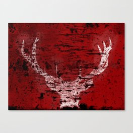 Industrial White Deer Silhouette on Red A313 Canvas Print
