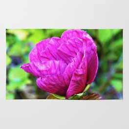 Plum Crazy Purple Hibiscus Detail with Purple Foliage Rug