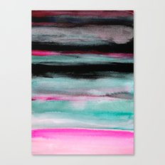 Abstract Pink & Green & Black painting Canvas Print