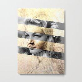 "Leonardo's ""Head of a Woman"" & Lauren Bacall Metal Print"