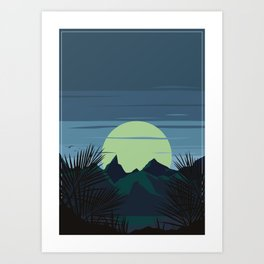 Mountain in Retro Style Art Print