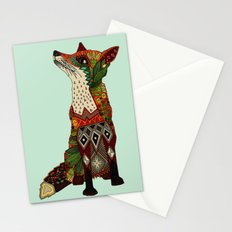 fox love mint Stationery Cards