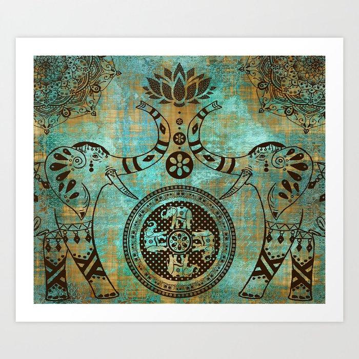 Elephants Lotus Flower Distressed Mandala Design Art Print