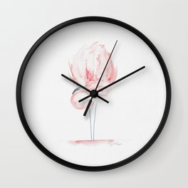 Tropical birds: Pastel blush flamingo Wall Clock