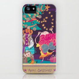 Christmas angel with purple hair iPhone Case