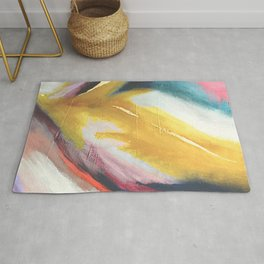 Ambition: a colorful abstract piece in bold yellow, blue, pink, red, and gold Rug