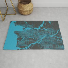 Vancouver Map blue Rug