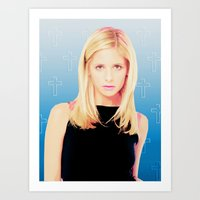 buffy the vampire slayer Art Prints featuring Buffy the Vampire Slayer, Cross by Your Friend Elle