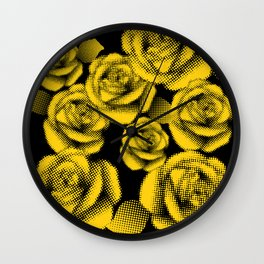 Yellow Halftone Roses Wall Clock