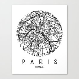 Paris Round Canvas Print