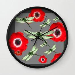 EMERALD GREEN DRAGONFLIES & RED POPPY FLOWERS GREY ART Wall Clock