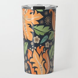 Cora Flora_ Orange and Slate Blue Travel Mug