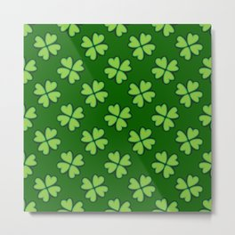 St. Patrick Day Clover 1 - Green Pattern Metal Print