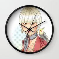 birdy Wall Clocks featuring Birdy by Lotty