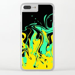 Yellow green abstract pattern on a black background .  The splash of waves . Clear iPhone Case