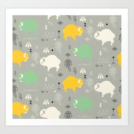 Seamless pattern with cute baby buffaloes and native American symbols, gray Art Print
