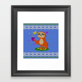 Cute Knit style Sloth with a coffee cup Framed Art Print