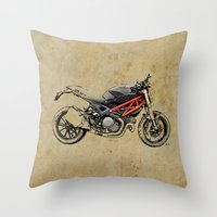 ducati Throw Pillows featuring Ducati Monster 796 by Larsson Stevensem