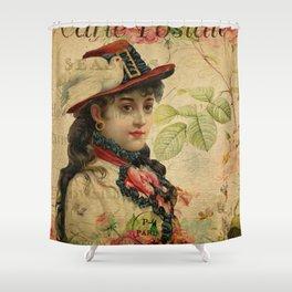 Woman Vintage Floral Shower Curtain