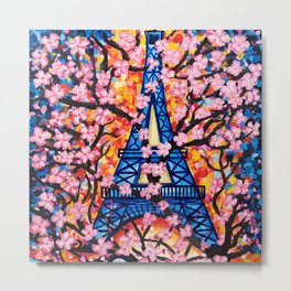Paris Cherry Blossoms Metal Print