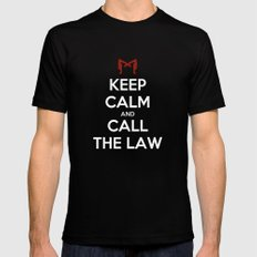 Keep Calm and Call the Law Mens Fitted Tee Black MEDIUM