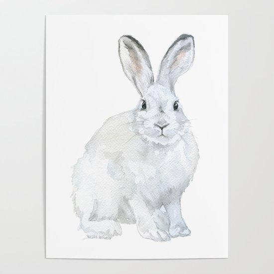Arctic Rabbit Watercolor by susanwindsor