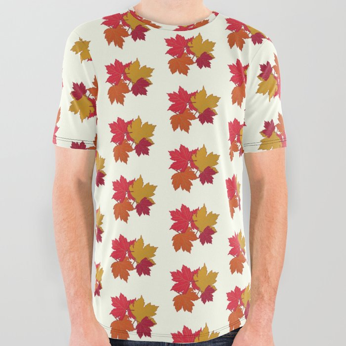 Maple_leaves_stack_pattern_All_Over_Graphic_Tee_by_MelanieNCreations__Small