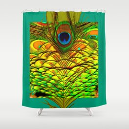 TEAL PEACOCK FEATHERS GOLDEN  DESIGN Shower Curtain