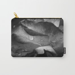 Water Droplet on Rose Petal: Black & White Carry-All Pouch