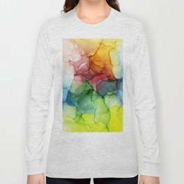 Stormy Spectrum | Abstract Rainbow Painting Long Sleeve T-shirt