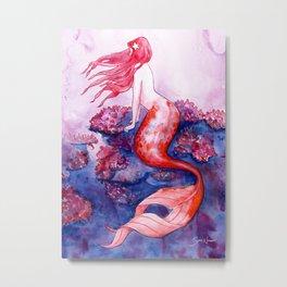 Red Coral Mermaid Metal Print