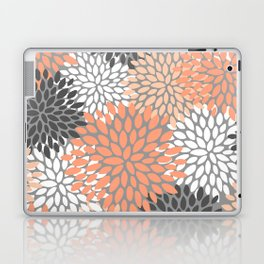 Floral Pattern, Coral, Gray, White Laptop & iPad Skin