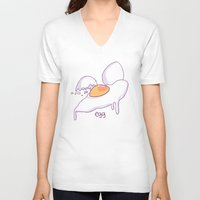 egg V-neck T-shirts featuring EGG by abby g