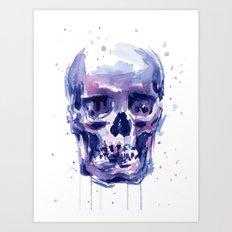 Skull Watercolor Purple Colorful Art Print
