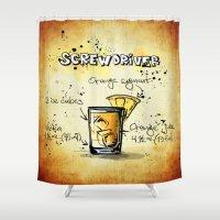 vodka Shower Curtains featuring Screwdriver by jamfoto