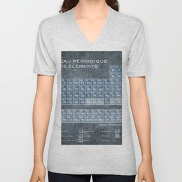 Tableau Periodiques Periodic Table Of The Elements Vintage Chart Blue Unisex V-Neck
