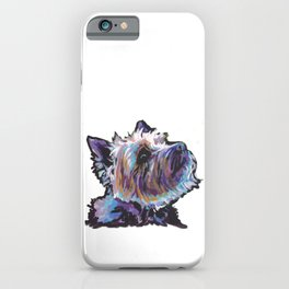 Fun Cairn Terrier Dog Portrait bright colorful Pop Art Painting by LEA iPhone Case