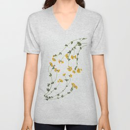 Yellow Lotus Flower Botanical Print Unisex V-Neck