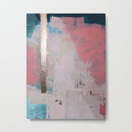 Morning Light: a minimal abstract mixed-media piece in pink gold and blue by Alyssa Hamilton Art Metal Print