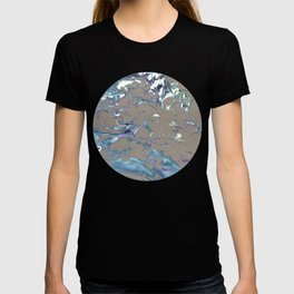 Greige, Gray, Beige, Teal, Navy and Purple Abstract T-shirt