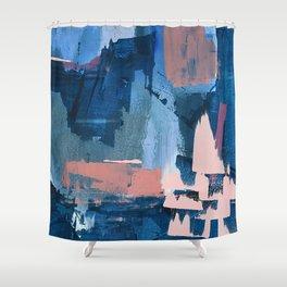 Rhythm of Rain: a modern abstract piece by Alyssa Hamilton Art in blues and pinks Shower Curtain