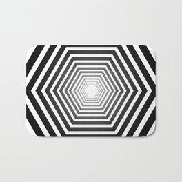 concentric hexagons with black gradient optical illusion Bath Mat
