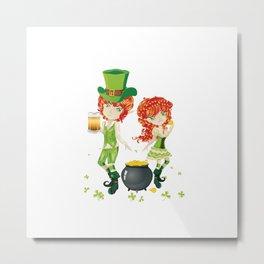 Leprechaun Boy and Girl Metal Print