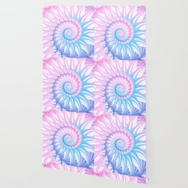 Striped Pastel Spiral in Pink, Blue and Purple Wallpaper