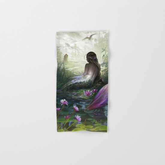 Little mermaid - Lonley siren watching kissing couple Hand & Bath Towel