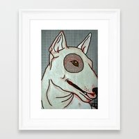 bull terrier Framed Art Prints featuring Bull Terrier by Just Bailey Designs .com
