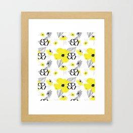 Yellow and Black Drawn Flowers Framed Art Print